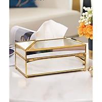 Hộp đựng giấy bằng gương viền vàng sang trọng