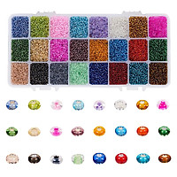 Assorted Glass Seed Beads 2mm Round Loose Beads Spacers Kit with Box DIY Bracelets, About 38400PCS