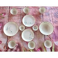 Bộ bát đĩa sứ Đào xanh cao cấp 12 sản phẩm