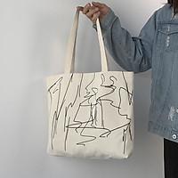 Túi tote vải canvas phong cách Hàn quốc, túi vẽ  có khóa miệng ngăn phụ bên trong tiện dụng-Hazi Store