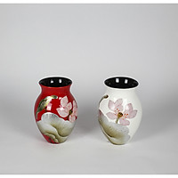 Bình hoa gốm sơn mài hoa sen