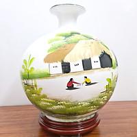 Bình Hút Lộc Gốm Sứ Trắng Vẽ Tranh Đồng Quê - 30cm - Maxi