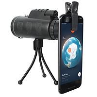 Ống nhòm gắn điện thoại 40x60 chụp ảnh siêu xa, tặng kèm tripod 3 chân + kẹp  điện thoại.