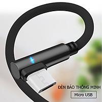 Dây sạc nhanh chữ L tích hợp đèn Led  dành cho điện thoại androi có chân sạc micro USB, dây được bọc dù dù chống đứt, chống rối, truyền được dữ liệu