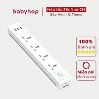 Ổ Cắm Điện Đa Năng WORKZ Shoptida 3 Cổng USB sạc nhanh 15W - 2,4A và 4 Ổ Điện chịu tải 2500W Dây nối dài 1.8m chống cháy
