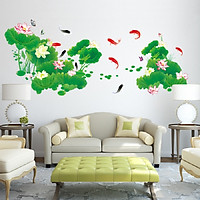 Decal dán tường hồ sen xanh cá chép size đại trang trí phòng sang trọng