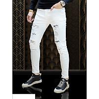 Quần Jean Nam trắng họa tiết phối Rách Julido, mẫu thời trang Nam mới nhất 2021 WW01