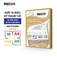 Giấy In Màu Kỹ Thuật Số MEDIA 2 Mặt Mờ (Matte) Khổ A4 (210 x 297mm) Định Lượng 250gsm 50 Tờ, Dùng In Ảnh Màu & Tài Liệu Màu - Hàng Chính Hãng