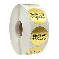 Sticker Thank You hình tròn - Cuộn băng keo tape cám ơn 500cái x 2.5cm