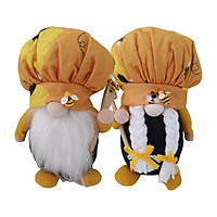 2 Pack Bumble Bee Chef Gnome Scandinavian Tomte Nisse Swedish Honey Bee Elf Home Farmhouse Kitchen Decor Bee Shelf Tiered Tray Decorations