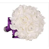 Bó hoa cưới Hàn Quốc tay cầm màu Tím phối Bông trắng