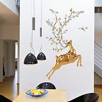 Decal dán tường trang trí hươu vàng thịnh vượng - đẹp sang trọng