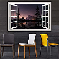 Bức tranh cửa sổ 3D dán tường PHONG CẢNH HỒ NƯỚC 2 lựa chọn bề mặt cán PVC gương hoặc cán bóng, mã số: 00402131L11