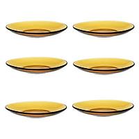 Bộ 6 Dĩa thủy tinh cường lực Pháp Duralex Lys vàng Amber 13.5cm