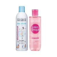 Bộ 2 sản phẩm nước hoa và xịt khoáng chăm sóc da cấp nước và dưỡng ẩm dành cho da nhạy cảm Evoluderm 250ML+400ML