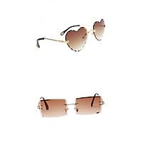 2 Shapes Rimless Sunglasses Retro Classic Party Tinted Lens Eyewear Anti UV