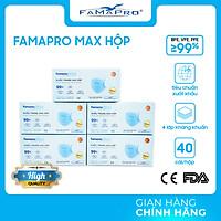 [HỘP - FAMAPRO MAX] - Khẩu trang y tế kháng khuẩn 4 lớp Famapro Max (40 cái/ hộp) - COMBO 5 HỘP
