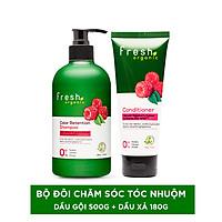 Combo dầu gội Fresh Organic Rasberry 500g + dầu xả Fresh Organic Rasberry  180g dành cho tóc nhuộm