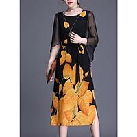 Đầm Suông Tay Cánh Tiên Cành Hoa Trắng Kiểu Đầm Thời Trang Trung Niên Dự Tiệc Nhiều Size ROMI 3265 - LÁ VÀNG 3205 - M 48-53KG