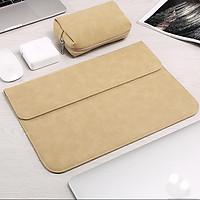 Bao da, túi da, cặp da chống sốc cho macbook, laptop chất da lộn kèm ví đựng phụ kiện - Vàng Cát - Macbook Air 13.3 inch đời 2019 - 2020