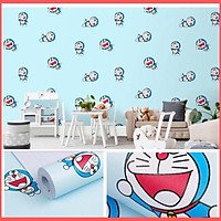 Giấy dán tường doremon có keo sẵn khổ rộng 45cm, giấy decal dán tường doremon tí hon màu xanh phòng ngủ cho bé