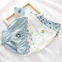 Bộ 4 Quần Lót Cotton Gân Hoa Cúc Xanh Kèm Ruy Băng Blue Daisy Bow - Phong Cách Nhẹ Nhàng Thanh Lịch Dễ Thương Nhật Bản - Vải Cotton Gân Siêu Thoáng Mát Ôm Khít Không Hằn Da