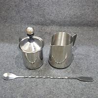 Combo 3 dụng cụ Inox đánh sữa tạo bọt - Ca Inox 600ml