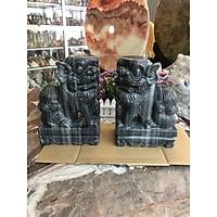 Cặp Kỳ Lân quay đầu phong thủy gác cổng đá cẩm thạch vân đen - Cao 30 cm
