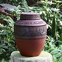 Chum sành ngâm rượu đắp nổi hoa văn cổ 10L gốm sứ Bát Tràng (bình rượu, bình ngâm rượu, chum ngâm rượu)