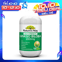 Nature's Way High Trength Ginkgo Biloba 2000mg - Viên uống bổ não tăng cường trí nhớ