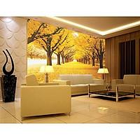 Tranh dán tường 3D phong cảnh thiên nhiên mùa thu vàng - vải lụa phủ kim sa (Kích thước theo yêu cầu)