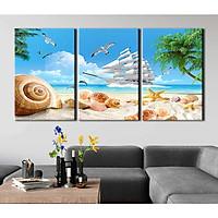 Tranh canvas phong thủy treo tường - Thuận buồm xuôi gió - TBXG003 - Bộ ghép 3 bức tràn viền - 120x60cm