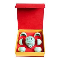 Bộ  trà quà tặng Ấm trà  Lục giác Trung  Đông Gia - xanh ngọc Celadon 32.