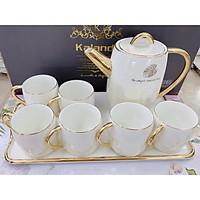 Bộ ấm chén kèm khay sứ sương pha trà cà phê trắng ánh bạc trai biển phong ách Châu Âu sang trọng - ANTH32