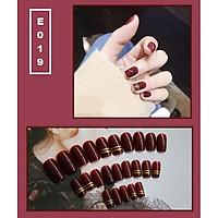 Bộ 24 móng tay giả nail thời trang họa tiết bắt mắt chống thấm nước (E019)