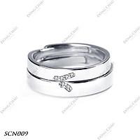 Nhẫn cưới, nhẫn cặp bạc Ý hình chữ V - SCN009