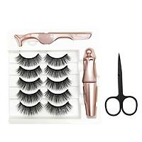 5 Pair Magnetic-Eyelashes & Magnetic-Eyeliner Kit Waterproof Reusable Natural False Eyelashes Liquid Eye-Liner Set