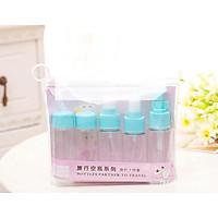Wutong Anan Cosmetics Spray Bottle Wash Bag Skin Care Travel Sub-Bottle Lotion Bottle 6 Piece Set Pink