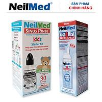 Combo Baby 24h Care: Bình Xịt Rửa Vệ Sinh Mũi Xoang NeilMed Sinus Rinse & Spray Kids -SX Mỹ, hỗ trợ điều trị Sổ Mũi, Nghẹt Mũi và Viêm Mũi Cho Bé (Bình 30 gói muối rửa; 1 chai xịt phun sương 75ml)