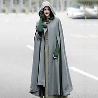 Casual Women Winter Cloak Hooded Sleeveless Button Closure Long Cape Costume Cosplay Outerwear