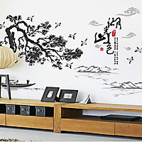 Decal dán tường phong thủy cây tùng đen tranh thủy mặc