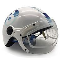 Mũ Bảo Hiểm Nửa Đầu Có Kính Protec Hiway Họa Tiết Trắng Xanh Tem Hình Số 8 (Mẫu Mới)  - Hàng Chính Hãng