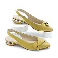 Giày Búp Bê Hở Gót 2cm Gắn Nơ Màu Vàng Pixie P240
