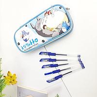 Combo Hộp Bút Totoro Xinh Xắn Và 5 Bút Bi Văn Phòng Tiện Lợi- màu xanh dương