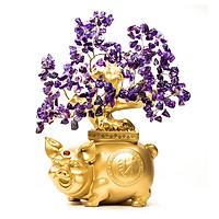 Cây Tài Lộc - Cây Đá phong thủy Thạch Anh tự nhiên đế Heo vàng may mắn VietGemstones