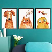 Decal dán tường khung tranh Chó mèo gà ZOOYOO XL8322