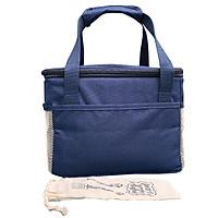 Túi Đựng Hộp Cơm Giữ Nhiệt Văn Phòng Dạng Hộp Màu Xanh Navy Có Dây Khóa Kéo Với Nhiều Ngăn Phụ Tặng Túi Muỗng Nĩa (Lunch Bags, Box)