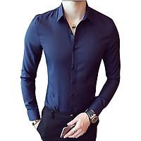 Áo sơ mi nam dài tay nam cổ bẻ cao cấp, áo sơ mi trắng vải lụa thái co giãn nhẹ không nhăn thời trang cao cấp, size áo từ 45-80 kg