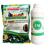 Combo Chế phẩm EM gốc và Chế phẩm vi sinh Trichoderma TRIBAC nấm đối kháng. Ủ phân cá, rác bã hữu cơ hoai mục nhanh không mùi hôi. Ngăn chặn nấm bệnh gây thối rễ vàng lá. HSD 2 năm