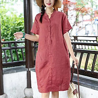 Đầm suông cổ trụ linen tay cộc túi bổ trước, chất vải linen mềm mát, thời trang xuân hè 2021
